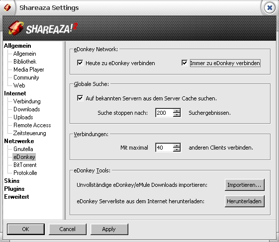 Shareaza – Settings – eDonkey